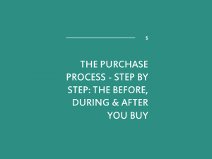 The Purchase Process – Step by Step: the before, during & after you buy